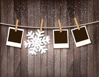 Christmas background with photos and a snowflake. Stock Image