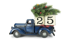 Christmas background. Pickup with christmas decoration Stock Photography