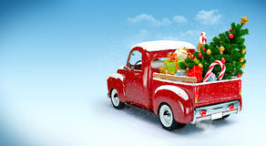 Christmas background. Pickup with christmas tree and gifts. Merry Christmas and Happy New Year Stock Image