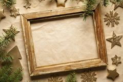 Free Christmas Background - Picture Frame, Tree, Stars And Snowflakes Royalty Free Stock Photo - 106112355