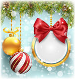 Christmas Background with Pine Branches Frame and Balls on Blue Stock Photos