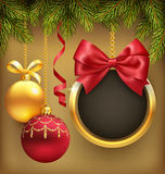 Christmas Background with Pine Branches Frame and Balls on Brown Royalty Free Stock Photography