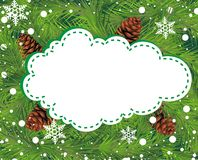 Christmas background with pine cone. And snowflakes Stock Photography