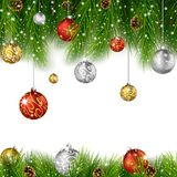 Christmas background with pine cone, ball and fir Royalty Free Stock Images