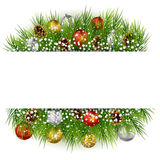 Christmas background with pine cone, ball and fir in snow Stock Image