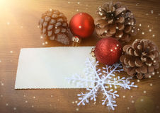 Christmas background with pine cones and red balls Royalty Free Stock Photography