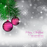 Christmas background with pine needles and bauble Royalty Free Stock Photo