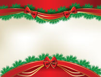 Christmas background with  pine and ribbons royalty free stock photo