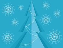 Christmas background with pine and snowflakes Stock Photo