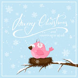 Christmas background with pink bird and snowflakes Stock Photography