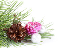 Christmas background with pink decoration Stock Photos
