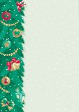 Christmas background with place for text. Vector card of christmas fir tree with Christmas decorations on abstract background with snowflakes Royalty Free Stock Images