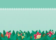 Christmas background with place for text. Vector card of christmas fir tree with Christmas decorations and cone on abstract background Royalty Free Stock Photography