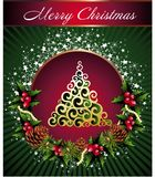 Christmas background with place for your text. Background christmas tree  pinecone holly star Stock Photography