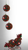 Christmas Background plaid ornaments. Image and illustration composition, plaid ornaments and holly berries Christmas holiday greeting card background, border royalty free illustration