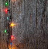 Christmas background. planked wood with lights and free text spa Stock Image