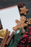Christmas planning background. Christmas background with a planning, cookies, Christmas decor and place for text Royalty Free Stock Photos