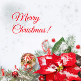 Christmas background with poinsettia and decorated Christmas tre Royalty Free Stock Photo