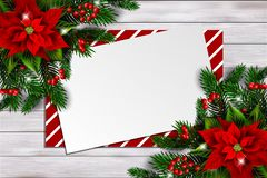 Christmas background with poinsettia and empty card royalty free stock photo