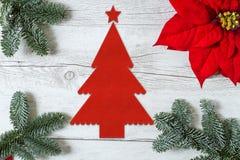 Christmas background with Poinsettia Stock Photo