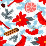 Christmas background with poinsettia red flower. Winter floral s. Eamless pattern with cardinal bird, grapefruit, canella, pine tree branches. Seasonal design Royalty Free Stock Images
