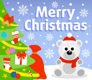 Christmas background with polar bear Stock Images