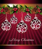 Christmas background with pred balls Stock Photos