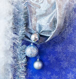 Christmas background with present box and balls Royalty Free Stock Images