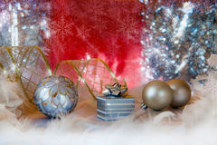 Christmas background with present box and balls Stock Photography