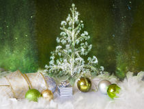 Christmas background with present box and balls Stock Photo