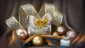Christmas background with present box and balls stock video footage