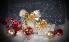 Christmas background with present box and balls Royalty Free Stock Image