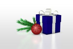 Christmas background with present box and balls Royalty Free Stock Photos