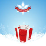 Christmas Background Present. Christmas, background, card, gift, vector, snow, holiday, present, box, xmas, winter, white, year, design, merry, presents, gifts Stock Photography
