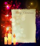 Christmas background with presents boxes and candl Stock Photography
