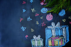 Christmas background with presents and a Christmas tree drawn wi Royalty Free Stock Photography