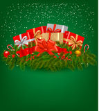 Christmas background with presents and a ribbon Stock Photos