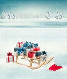 Christmas background with presents on a sleigh. Stock Image