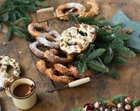 Christmas background with pretzel. Over wood Stock Photography