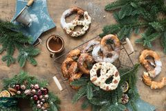 Christmas background with pretzel. Over wood Stock Photo