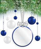 Christmas background with price tag, balls and spruce Stock Photos