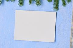 Christmas background Primed cardboard for painting on the backgr. Christmas flat lay Primed cardboard for painting on the background of decorative plaster, fir Stock Photos