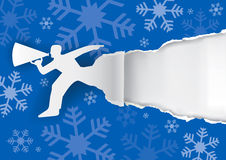 Christmas background with promotion man. Royalty Free Stock Photos