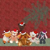 Christmas background with puppy and other cute plush toys Stock Photography