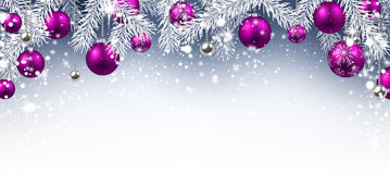 Christmas background. With purple balls. Vector paper illustration Stock Image