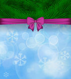Christmas background with purple bow and spruce twigs. Vector il. Lustration Stock Photo