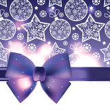 Christmas background with purple bow Royalty Free Stock Image