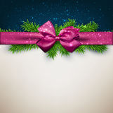 Christmas background with purple bow. Stock Image