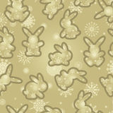 Christmas background rabbits Stock Images