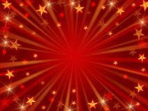 Christmas background radiate. Red christmas background with stars, lights and rays Stock Images